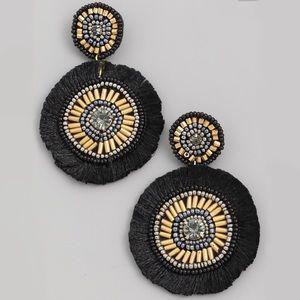 Jewelry - Black + Gold | Statement Hoop Fringe Earrings